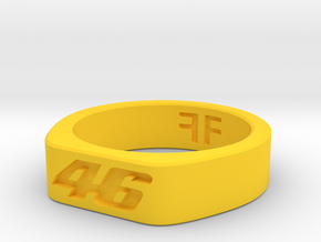Valentino Rossi - 46 - MotoGP indented ring (20mm) in Yellow Strong & Flexible Polished