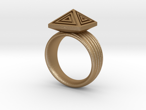 Pyramid Ring in Matte Gold Steel