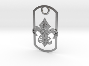 Fleur de lis dog tag in Natural Silver
