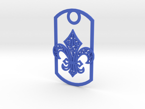 Fleur de lis dog tag in Blue Strong & Flexible Polished
