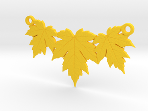 Maple Leaf Necklace in Yellow Processed Versatile Plastic