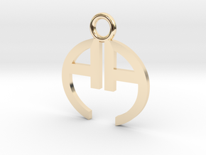 Double A Logo Pendant in 14K Yellow Gold