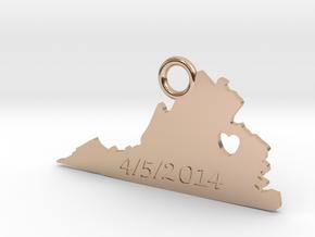 Virginia State in 14k Rose Gold