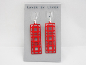 Churn Dash Earrings - Long in Red Processed Versatile Plastic