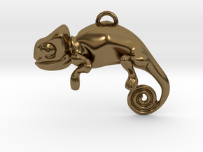 Enigmatic Chameleon Pendant in Polished Bronze