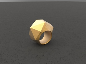 """ROCK""_Women ring in Matte Gold Steel"