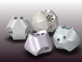 Set of dice with concave faces (pips) in White Natural Versatile Plastic
