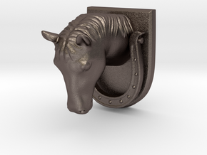 Horse Door Knocker in Polished Bronzed Silver Steel