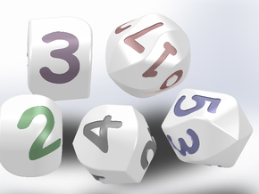 Set of dice with convex faces (digits) in White Processed Versatile Plastic