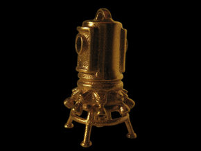 Pendant 03 - asteroid lander in Raw Brass