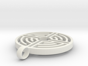 Labyrinth Pendant in White Natural Versatile Plastic