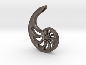 Nautilus Spiral: 4cm in Polished Bronzed Silver Steel