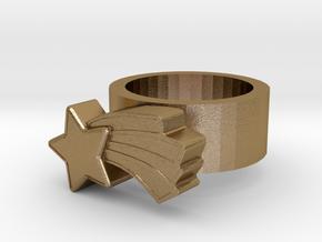 123d Design Ring in Polished Gold Steel