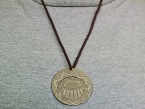 Golden CitiesMedal Pendant in Polished Bronzed Silver Steel
