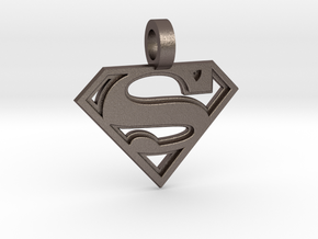 Superman Pendant in Polished Bronzed Silver Steel