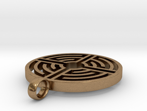 Labyrinth Pendant in Natural Brass