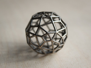 Irregular Wireframe Spherical Bead in Polished Bronzed Silver Steel