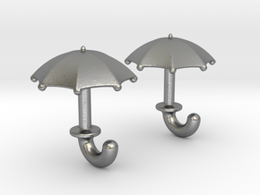 Umbrella Cufflinks in Natural Silver