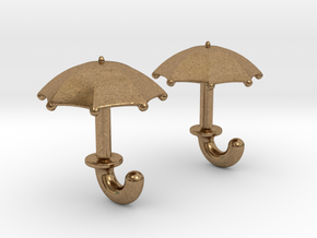 Umbrella Cufflinks in Natural Brass