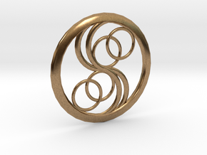 Double Yin Pendant in Natural Brass