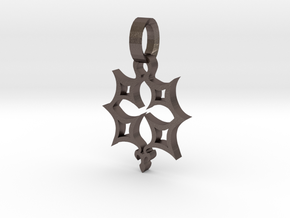 Crucifix star 1 inch in Polished Bronzed Silver Steel