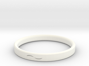 Bracelet with Asymmetrical Design in White Strong & Flexible Polished