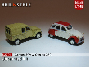 SET 2x Citroën 2CV (British N 1:148) in Smooth Fine Detail Plastic
