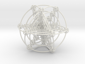 Multi-shell Metatrons Hypercube Atomic Grid Vector in White Strong & Flexible