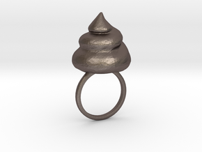 Big Shit Ring Size US 6 (16.5mm) in Polished Bronzed Silver Steel