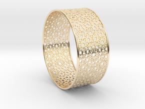 7cm Bracelet Flower Pattern Flat in 14K Yellow Gold