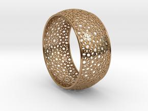 7cm Bracelet Flower Pattern Curved in Polished Brass