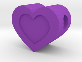 Small Framed Heart Pendant With 2mm Hole in Purple Processed Versatile Plastic