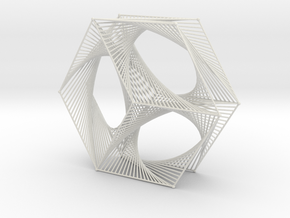 Hexagon Parabolic Curves Straight Lines in White Natural Versatile Plastic