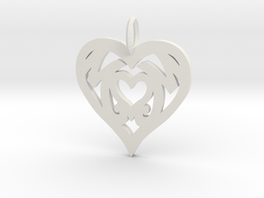 Mom love pendant 1.5 inch in White Natural Versatile Plastic