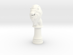 Lion Bishop (Round Base) in White Processed Versatile Plastic