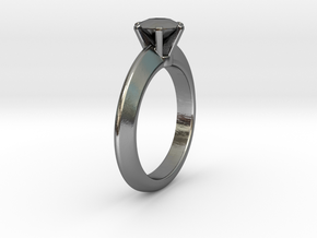 Solitaire Ring - Size M in Polished Silver