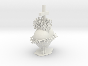 Sacred Heart in White Natural Versatile Plastic