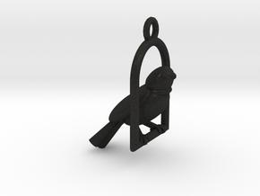Swinging Bird Earring in Black Acrylic