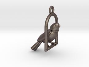 Swinging Bird Earring in Polished Bronzed Silver Steel