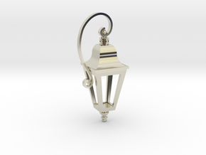 English Street Lamp Pendant in 14k White Gold