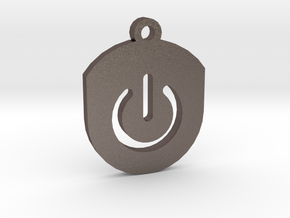 On Button Circular Frame Pendant Insert in Polished Bronzed Silver Steel