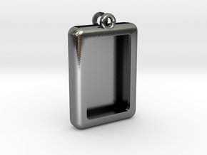 Rectangular Frame Pendant in Polished Silver