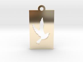 Rectangular Frame Pendant Dove Insert in 14K Yellow Gold