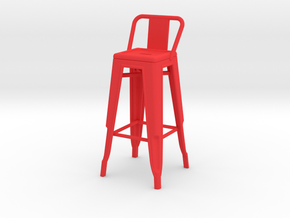 1:12 Tall Pauchard Stool, with Short Back in Red Processed Versatile Plastic