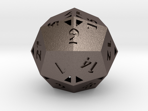 Pseudo-icositetrahedron - d24 - Hollow in Polished Bronzed Silver Steel