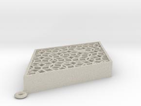 Penrose Mezuzah (fat rhomb) in Natural Sandstone