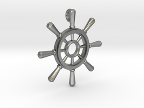 Ships Wheel Pendant in Natural Silver
