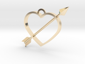 Cupid's Arrow Heart Pendant in 14K Gold