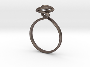 Torus Ring Size US 6 (16.5mm) in Polished Bronzed Silver Steel