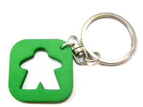 Meeple Keychain Silhouette, Board Game Keyring in Green Processed Versatile Plastic